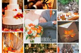 Inspiración en naranja, verde y madera para bodas en otoño