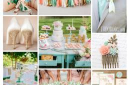 Inspiración en mint, melocotón y dorado para bodas de abril