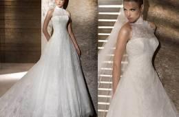 Vestido de novia con escote cuello alto o de cisne