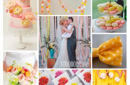 Inspiración para bodas de verano en rosa, amarillo y blanco