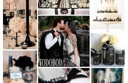 Inspiración para una boda en Halloween en blanco y negro
