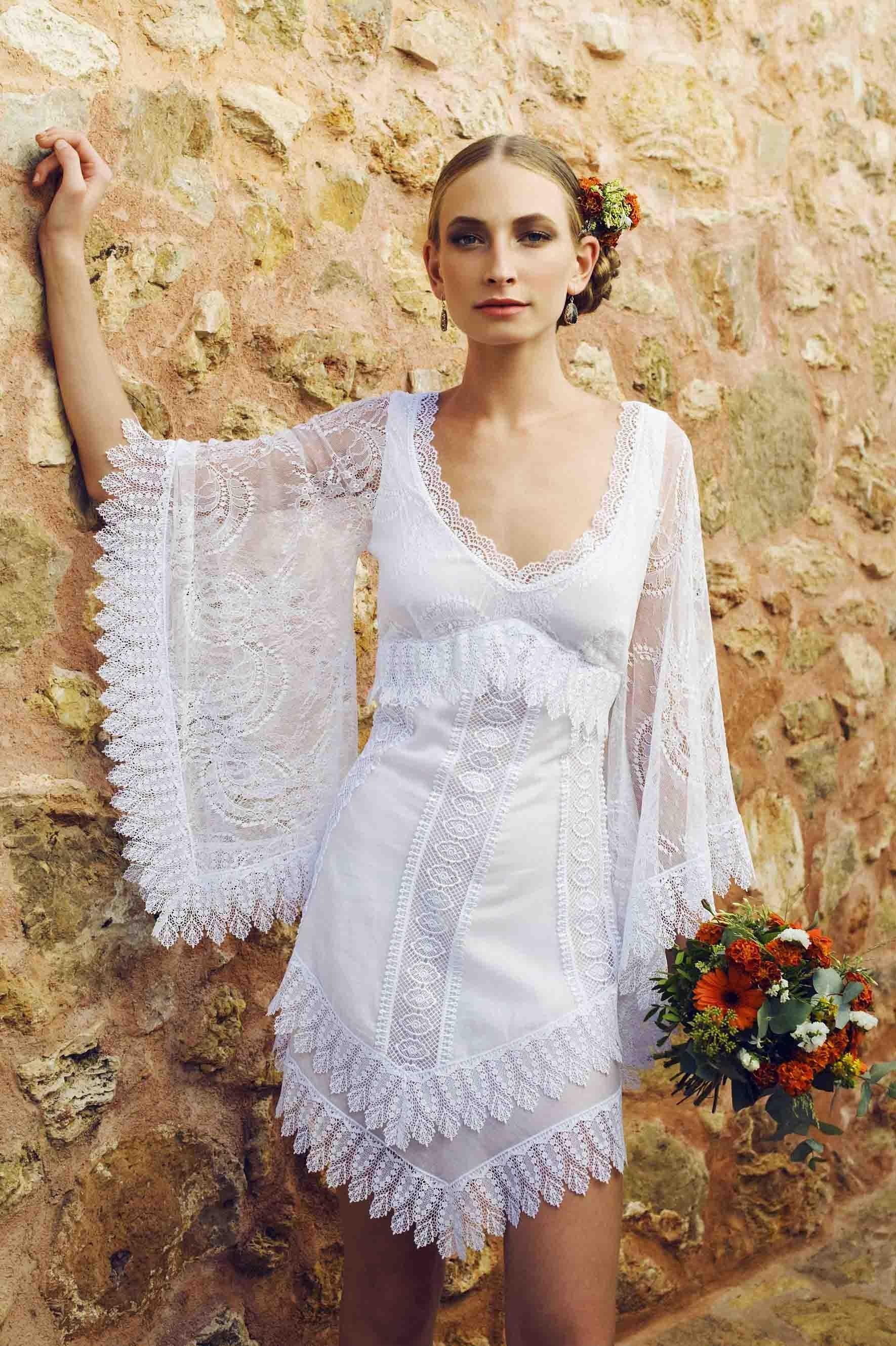 Vestidos de novia boho chic cortos