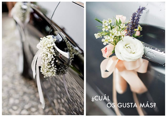 Idea original coche de boda novia decoracion