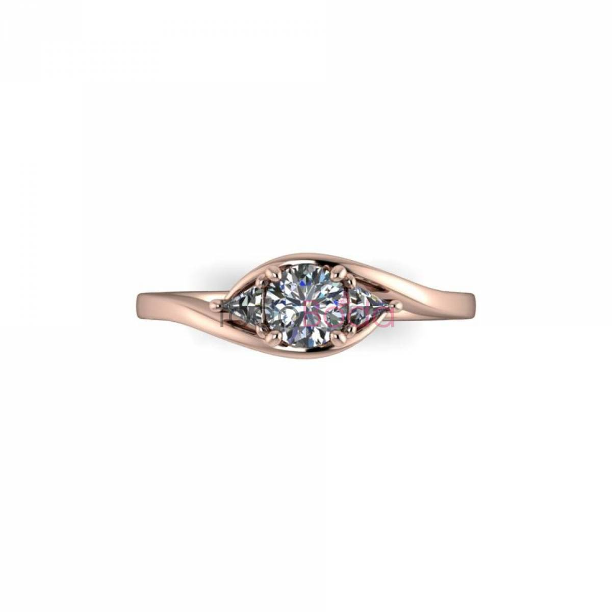 Anillo Oro Rosa con Diamante talla Brillante y Diamantes talla Trilliant 02